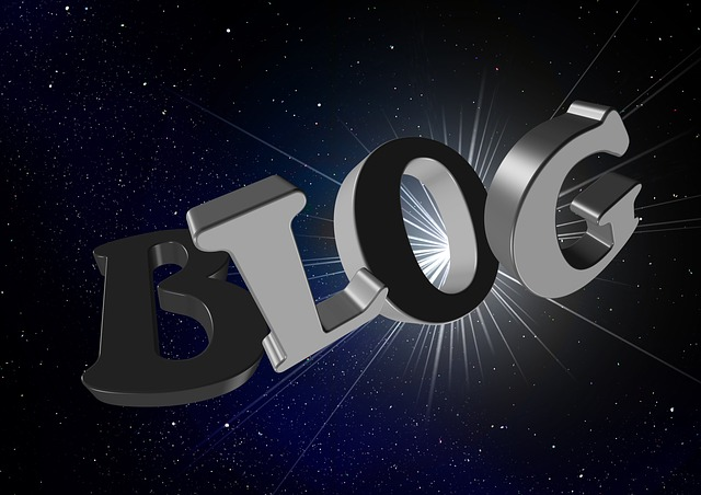 Nápis blog na pozadí čiernej oblohy s hviezdami